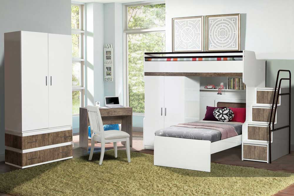 Bueno Loft Bed, 2 door under wardrobe, 2 door Wardrobe, Children's Bed and a Study Desk