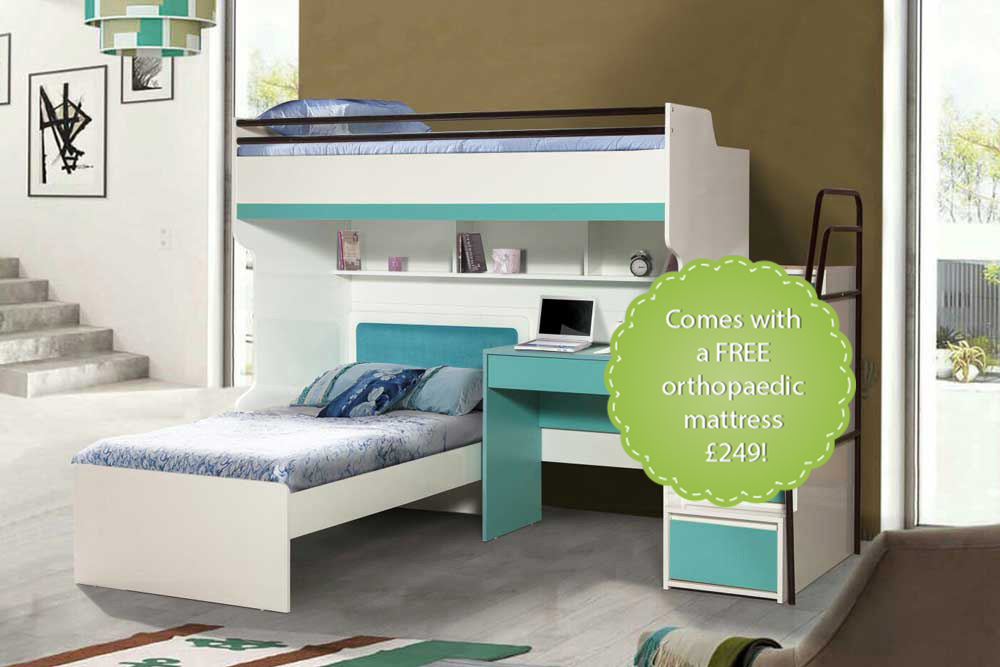 Bueno Turquoise: Designer Bunk Bed, Children's Bed and a Study Desk