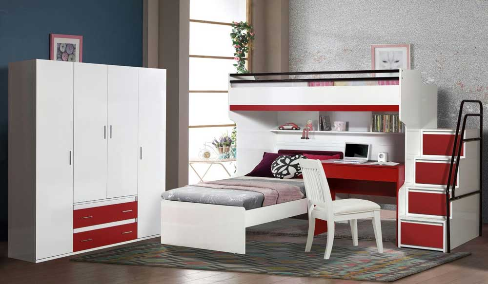 Bueno Contemporary Loft Bed, 4 door Wardrobe, Children's Bed, Study Desk and Stairs with 4 Large Chest of Drawers