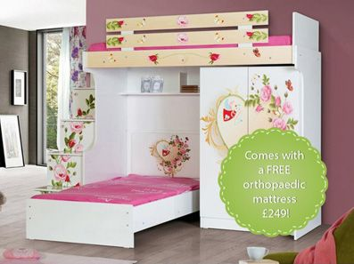 Butterfly Girls High Sleeper With Stairs