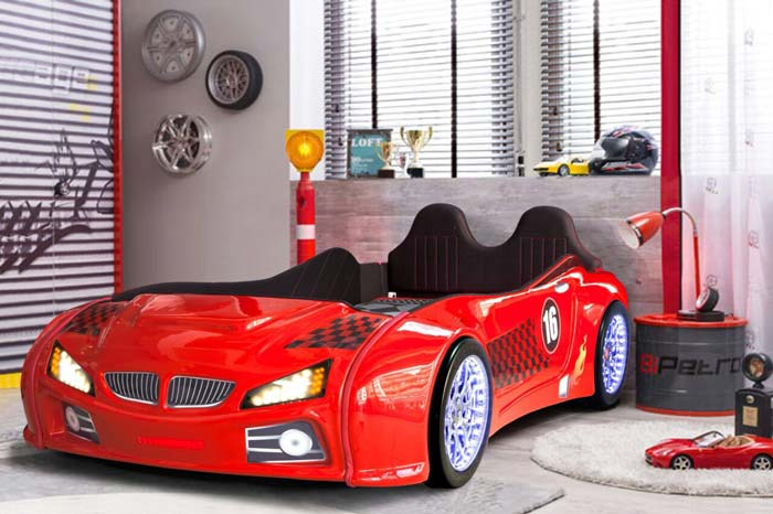 BMW M3 RED KIDS CAR BED with REAR RAISED LEATHER SEATS and LED LIGHTS