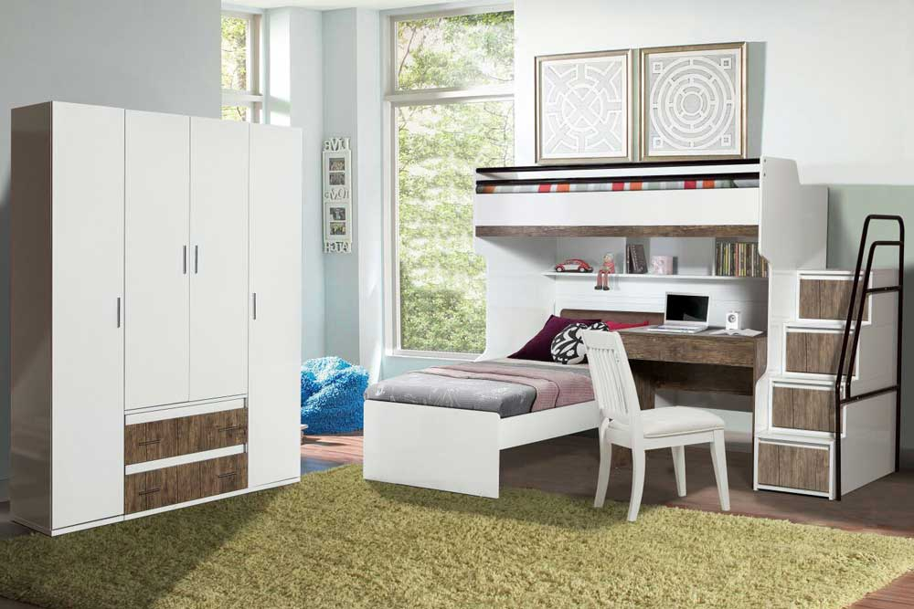 Bueno Loft Bunk Bed With Desk Set With 4 Door Wardrobe