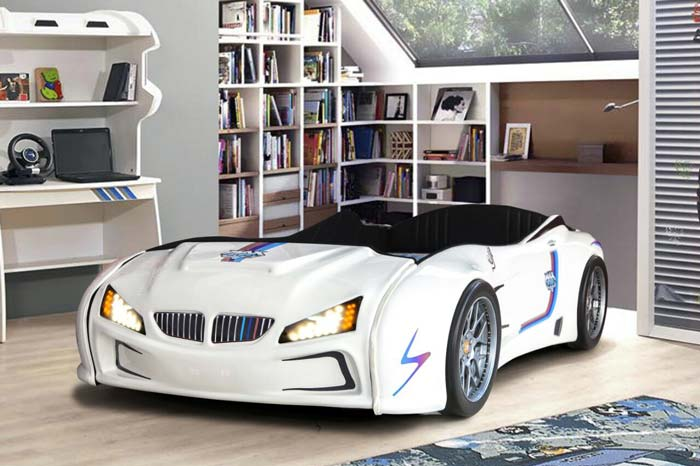 BMW M3 WHITE KIDS CAR BED with FULL LEATHER SEATS