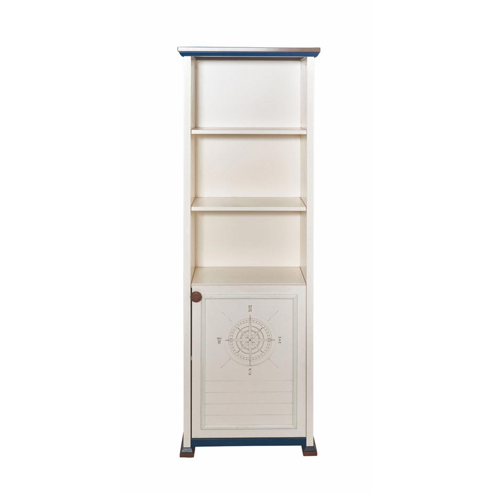 Ocean Contemporary Tall White Bookcase
