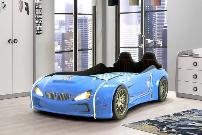 BMW M3 BLUE KIDS CAR BED with REAR RAISED LEATHER SEATS