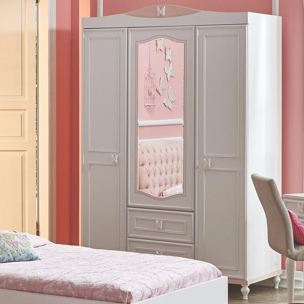 Butterfly Contemporary Wardrobe 3 Door With Mirror