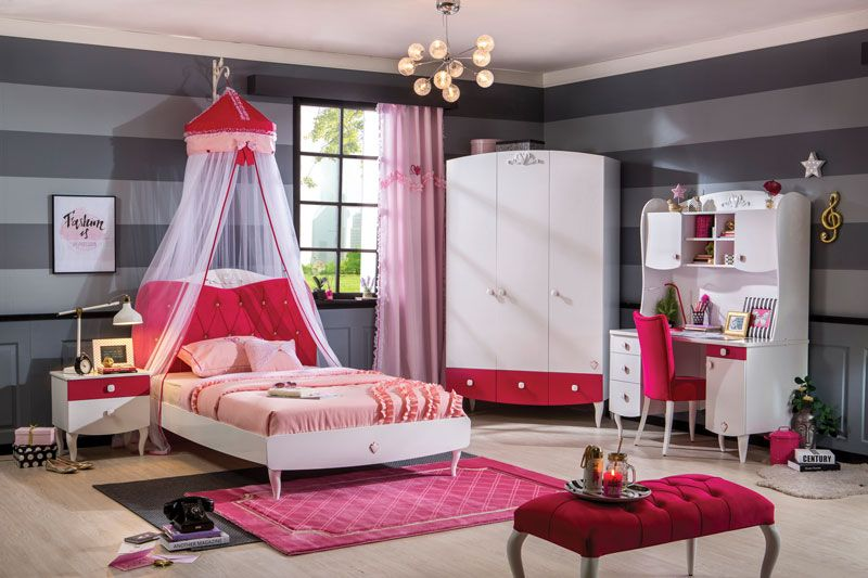 Bueno Red: Bunk Bed, 2 door under bunk bed wardrobe, 4 door wardrobe and a Study Desk