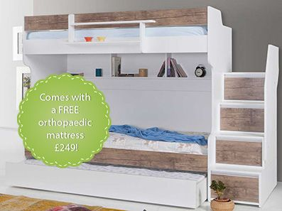 Brave Walnut Luxury Bunk Bed with a Trundle Bed