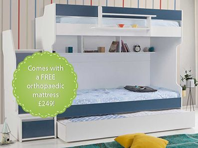 Brave Blue Designer Bunk Bed with a Trundle Bed
