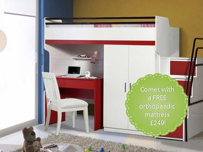 Bueno High Sleeper, 2 door wardrobe, Children's Bed and a Study Desk