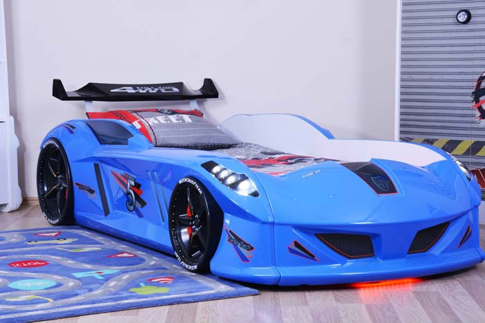 Jaguar Blue Car Bed with Bulging Wings