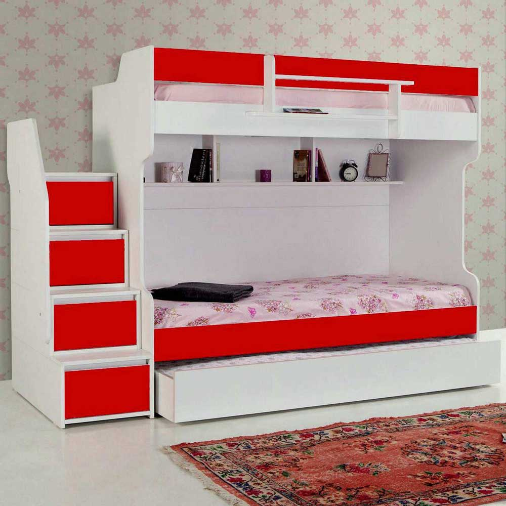 Brave Red Comtemporary Bunk Bed with a Trundle Bed