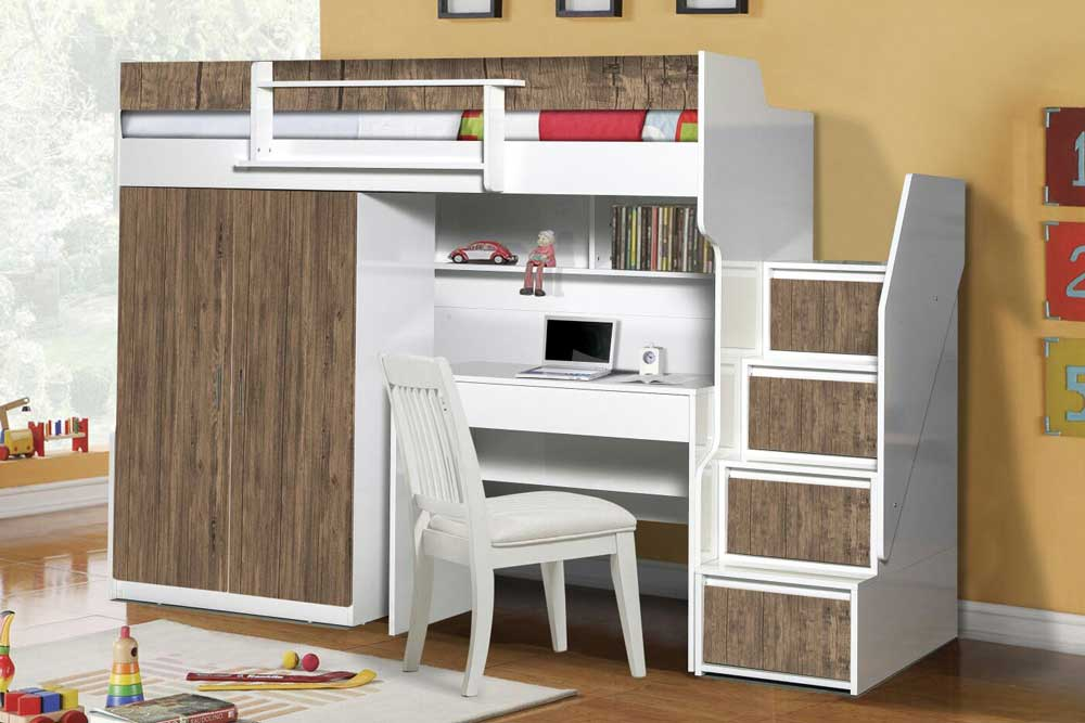 Brave High Sleeper Bed With Wardrobe And Desk