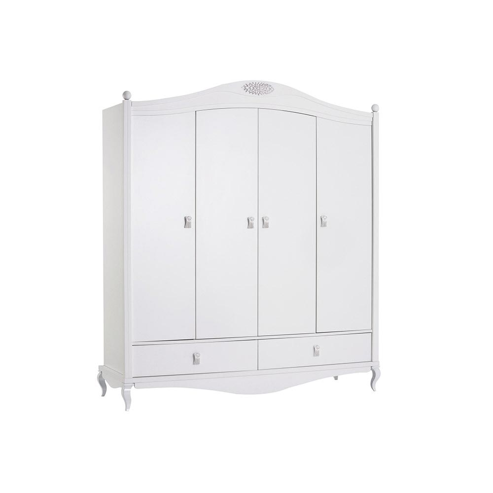 Jasmin Contemporary 4 Door White Wardrobe