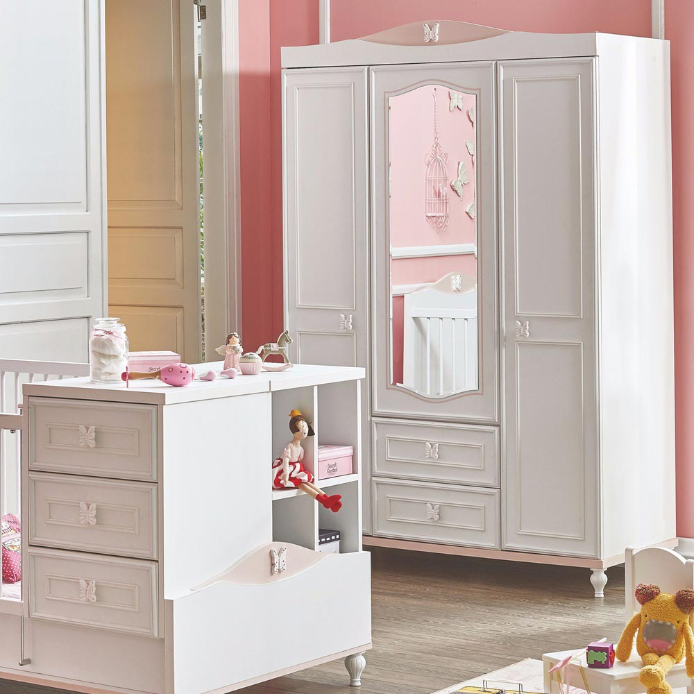 Butterfly Baby Contemporary Wardrobe 3 Door With Mirror