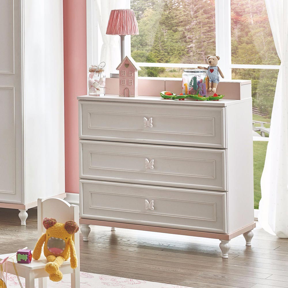 Butterfly Baby Contemporary White Chest Dresser