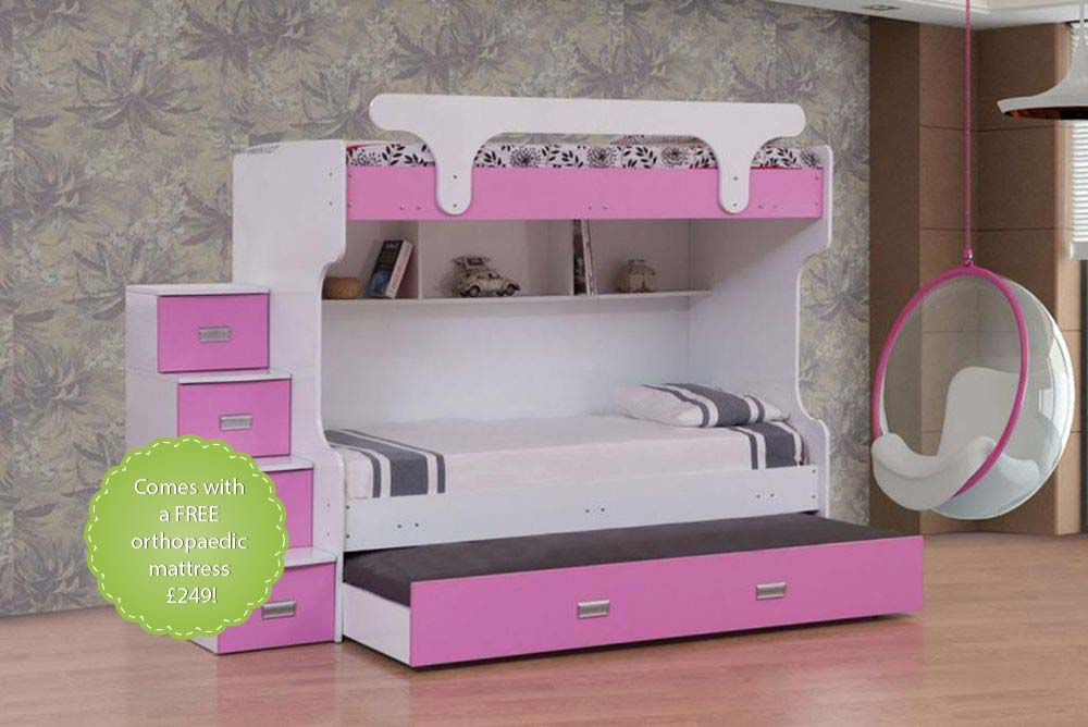 Laura Pink Bunk Beds