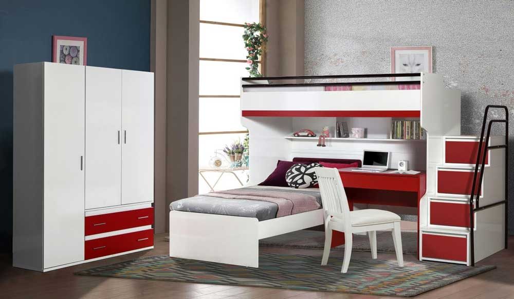 Bueno Loft Bed With Stairs Set And 3 Door Wardrobe