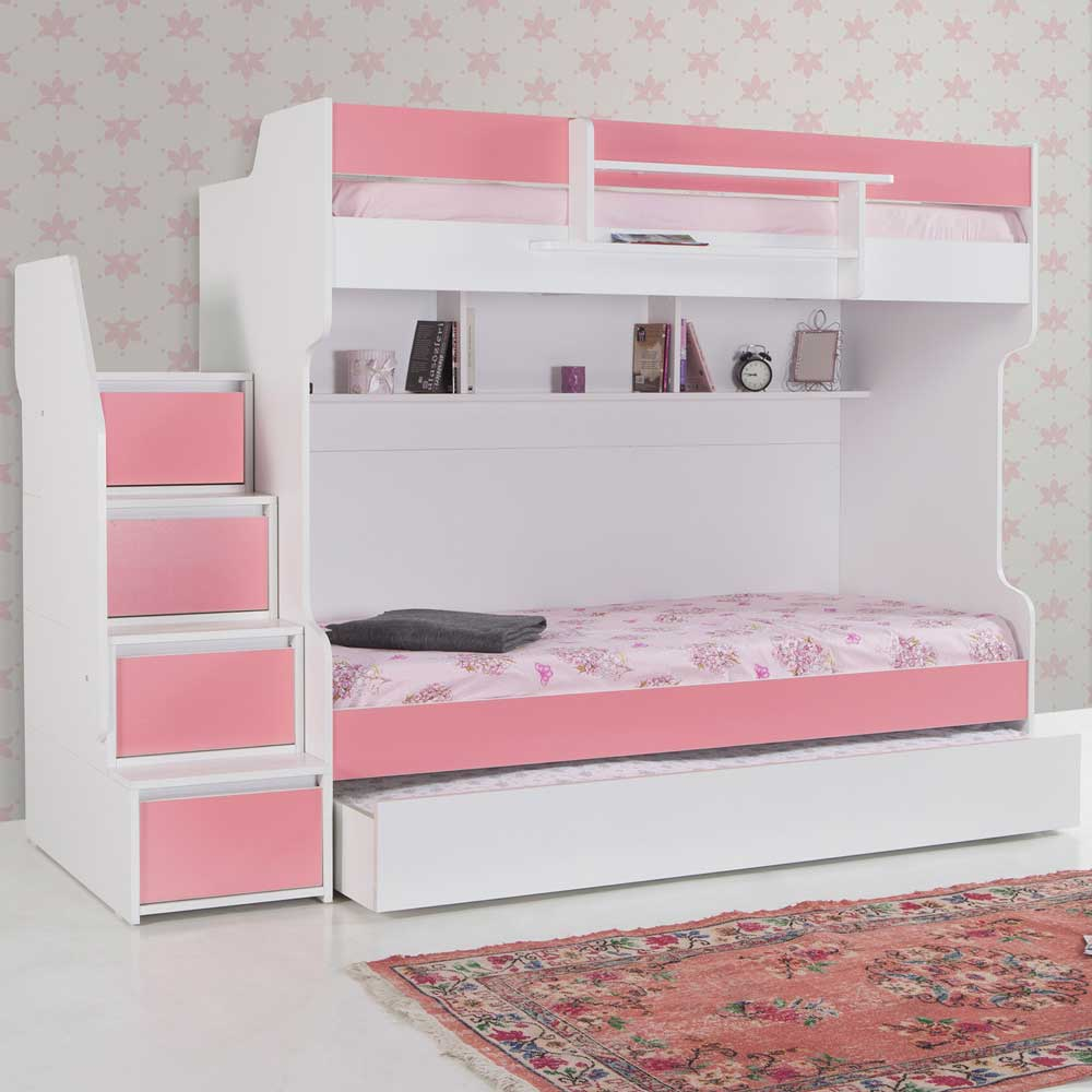 Brave Pink Modern Bunk Bed with a Trundle Bed