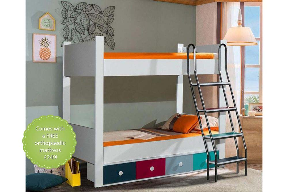 Eurasia Kids Bunk Beds With Storage