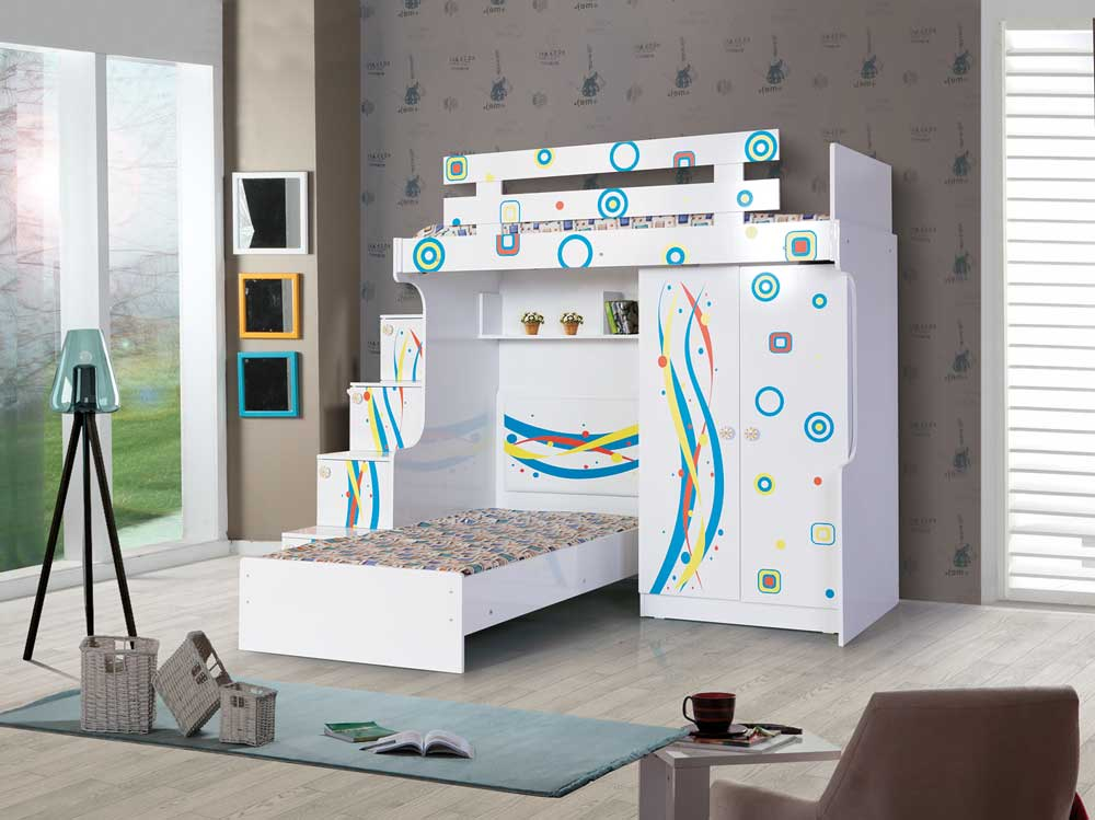 Cool Bunk Bed: Stairs with chest of drawers, 2 door wardrobe and children's bed