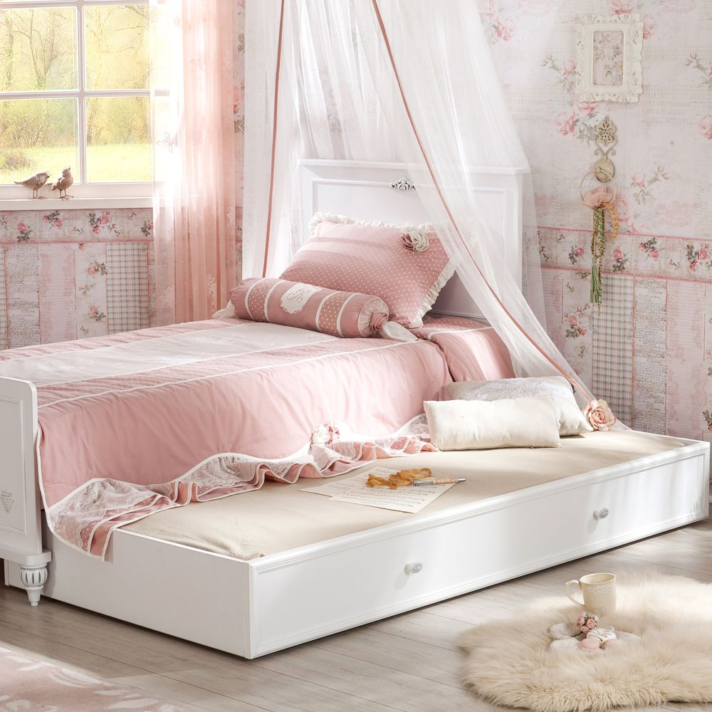 Romantic Quality Single Bed With Trundle