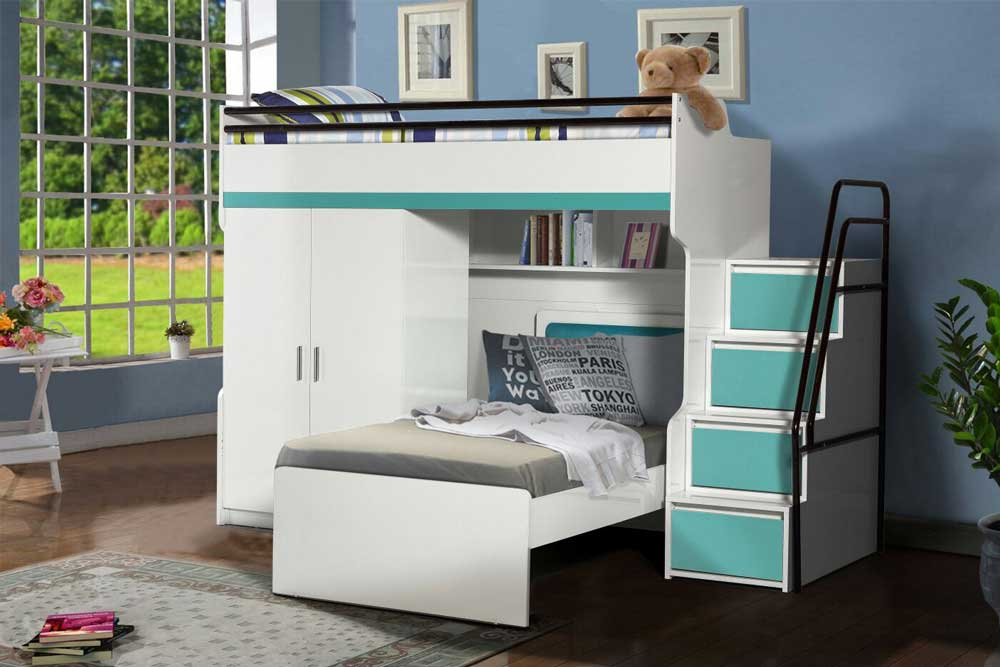 Bueno High Sleeper Bed With Wardrobe And Single Bed