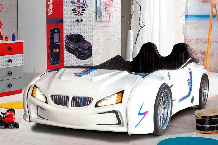 BMW M3 WHITE KIDS CAR BED with REAR RAISED LEATHER SEATS