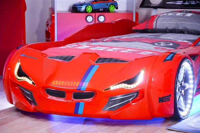 MERCEDES RED CAR BED with BULGING WINGS and LED LIGHTS