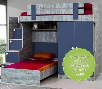 Blueish Designer High Sleeper: Stairs with chest of drawers, 2 door wardrobe and a children's bed