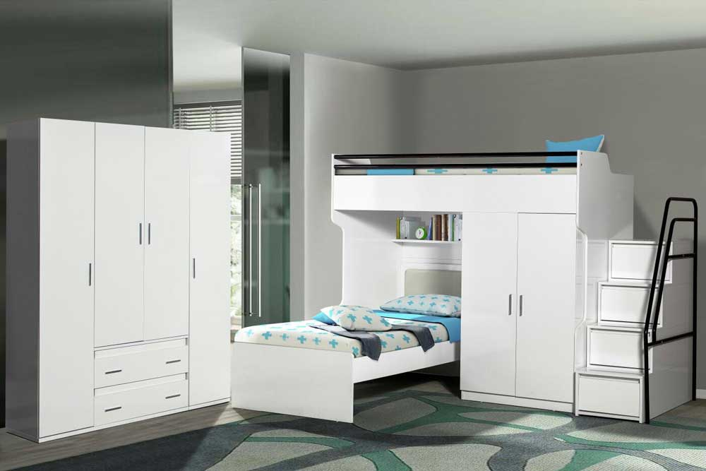 Bueno Loft Beds For Kids Package With 4 Door Wardrobe