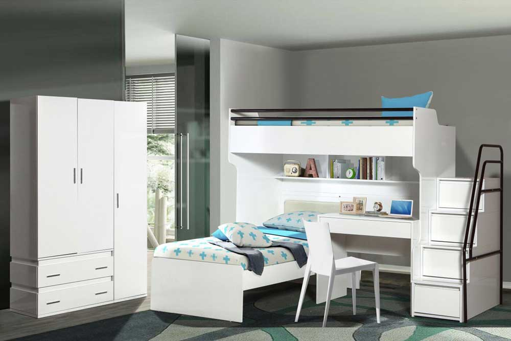 Bueno White Bunk Bed, 3 door Wardrobe, Children's Bed, Study Desk, and Stairs with 4 Large Chest of Drawers