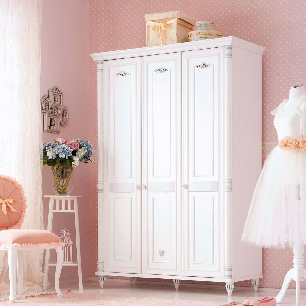 Romantic Robust 3 Door Girls White Wardrobe