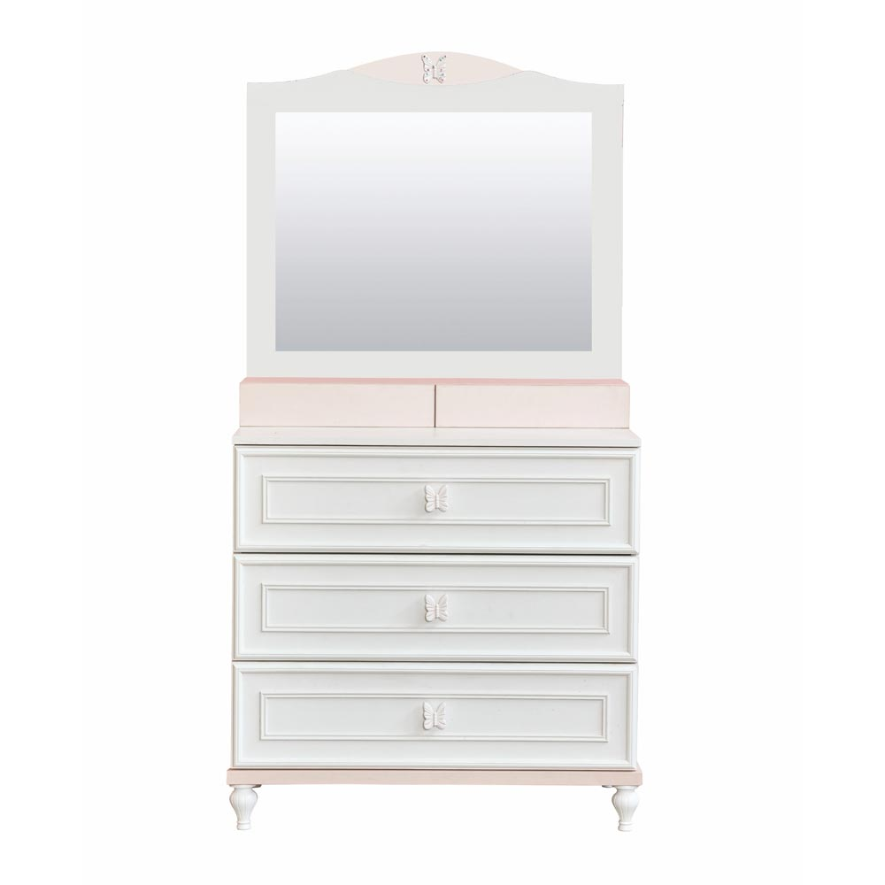 Butterfly Contemporary Tall White Dresser