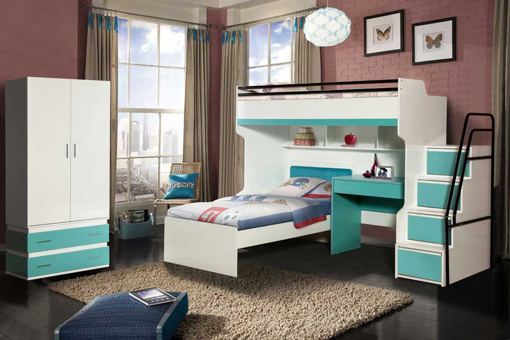 Bueno Turquoise: Bunk Bed, 2 door Wardrobe, Children's Bed and a Study Desk