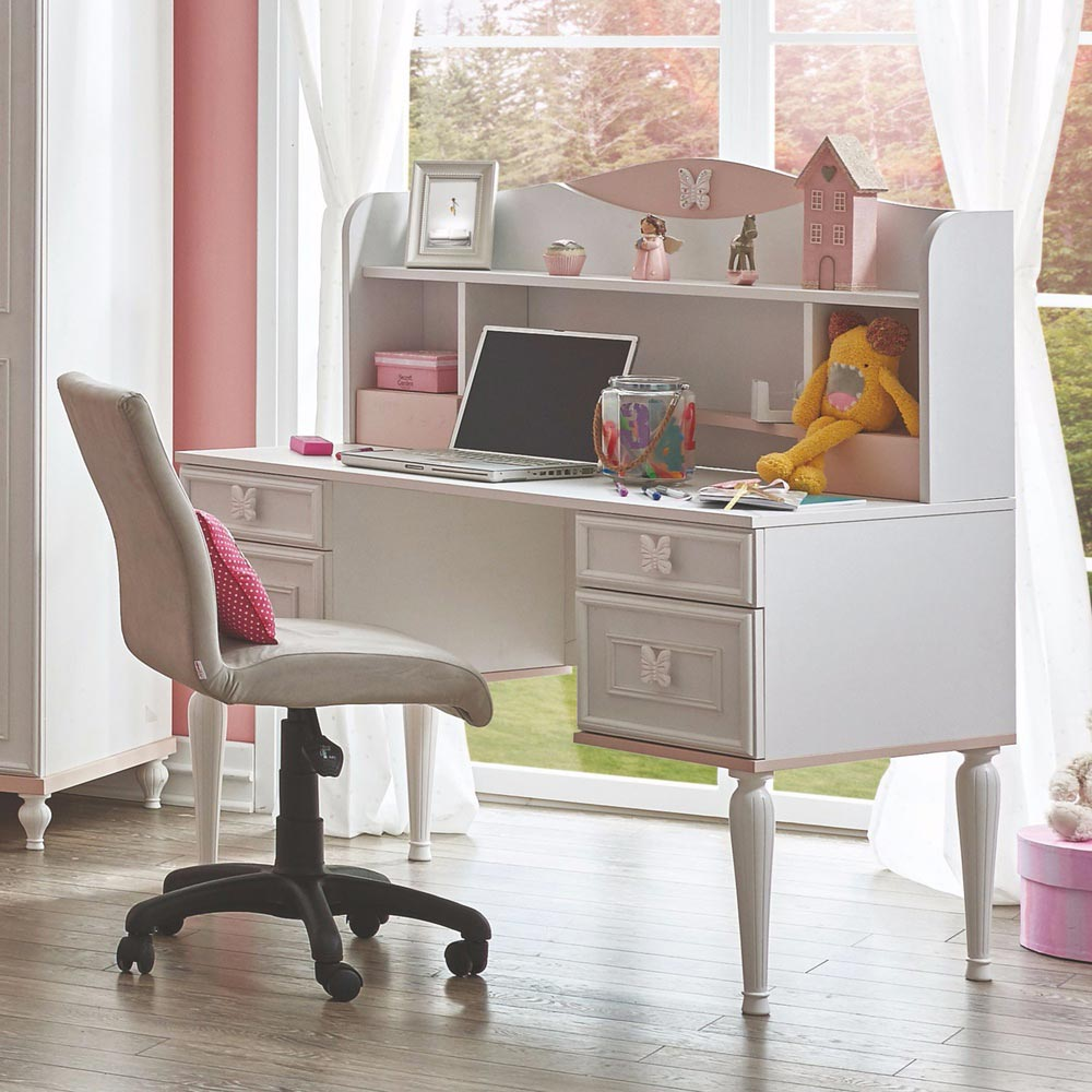 Butterfly Contemporary Childrens White Desk with Top Unit