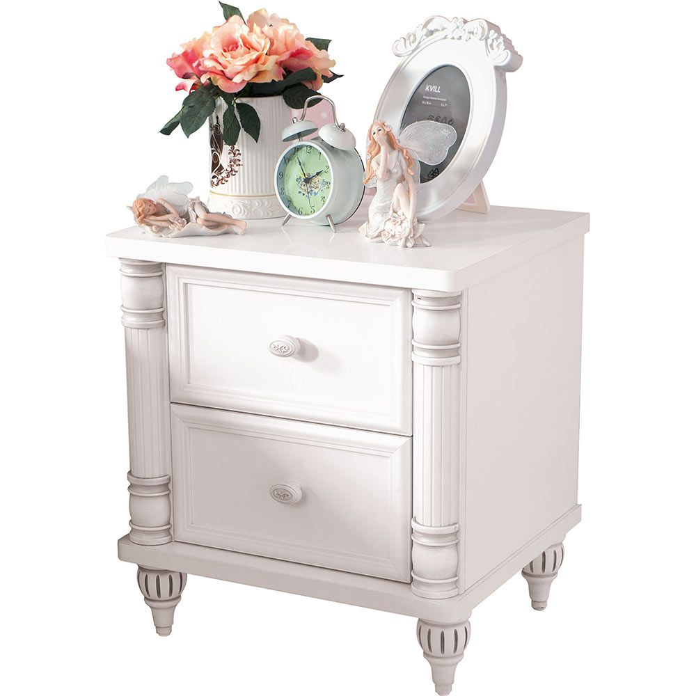 Romantic Childrens White Bedside Table
