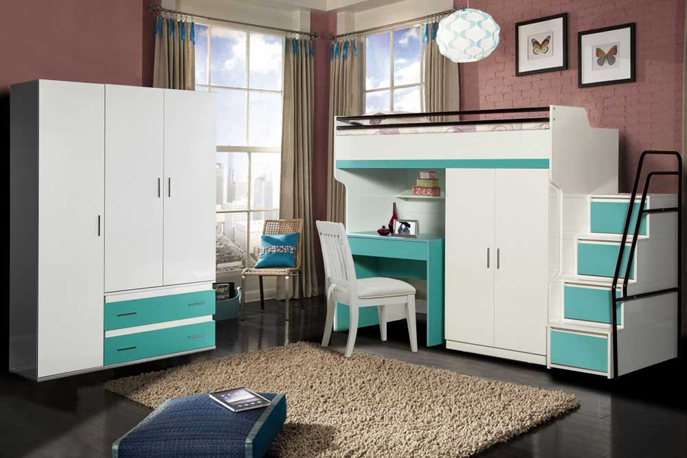 Bueno High Loft Bed Package With 3 Door Wardrobe