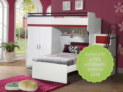 Bueno High Sleeper Bed With Wardrobe And Desk