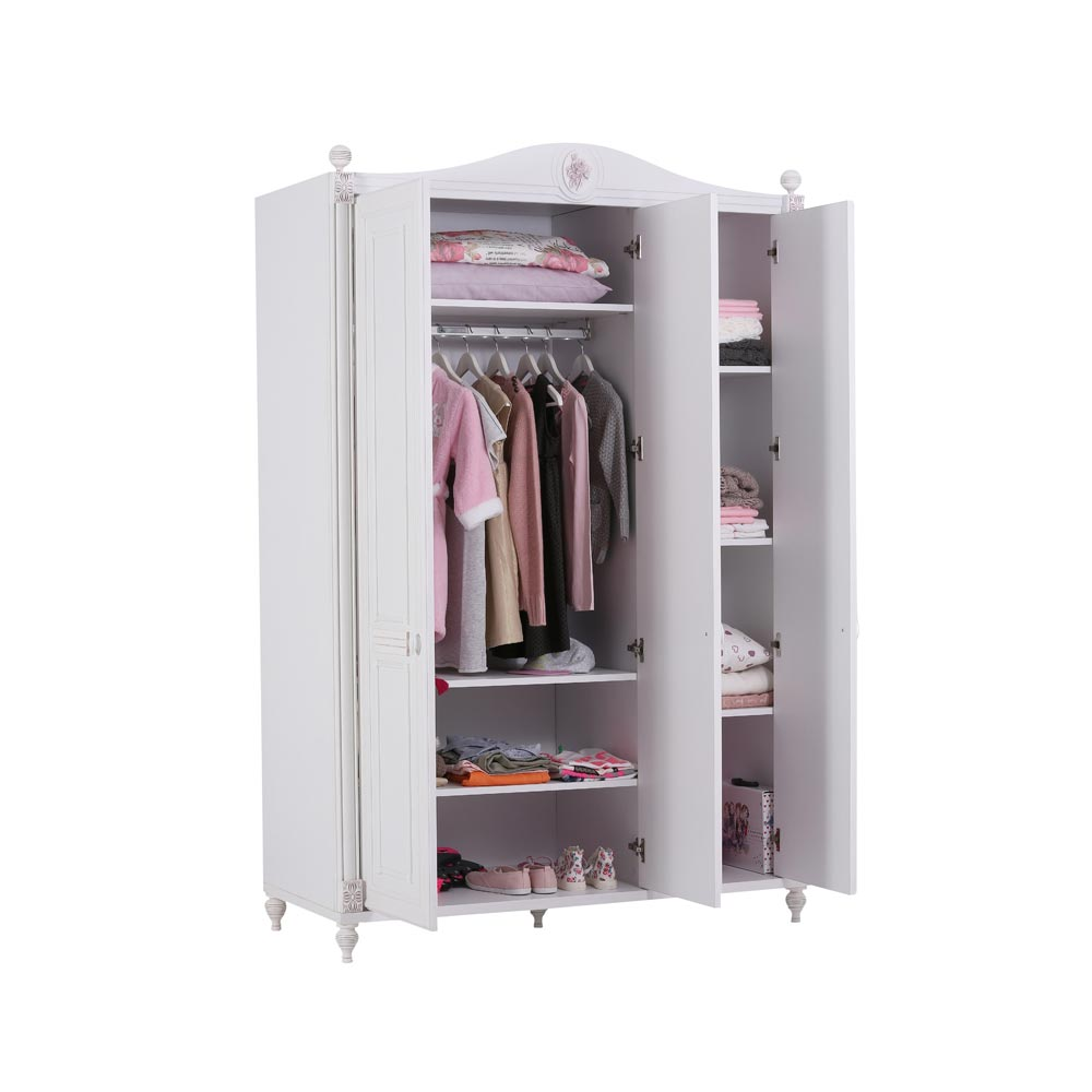 Rose Baby Contemporary White 3 Door Wardrobe