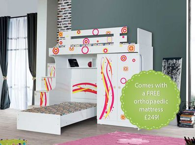 Ritzy Designer High Sleeper: Stairs with chest of drawers, 2 door wardrobe and children's bed