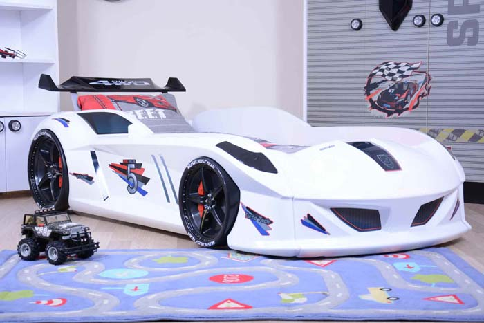 Jaguar White Car Bed with Bulging Wings