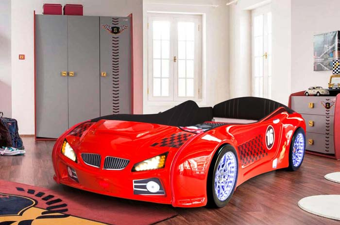 BMW M3 RED KIDS CAR BED with FULL LEATHER SEATS and LED LIGHTS