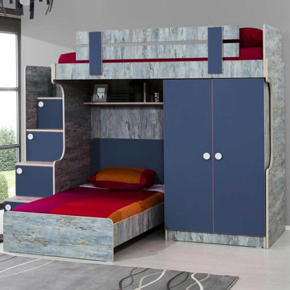 Blueish Designer Bunk Bed: Stairs with chest of drawers, 2 door wardrobe and a children's bed