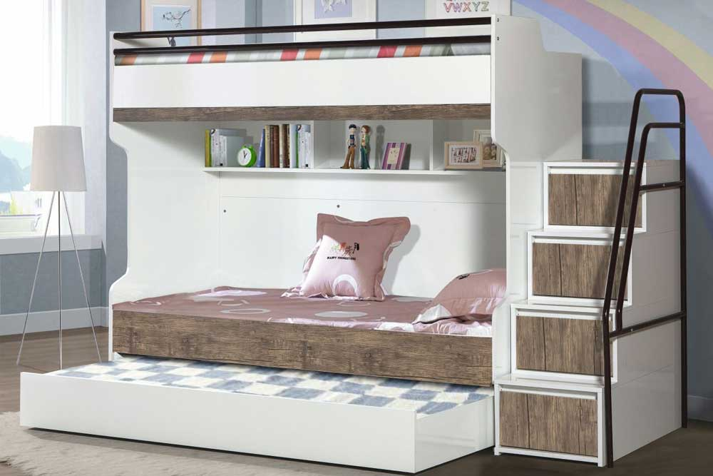 Bueno Walnut Designer Triple Bunk Bed