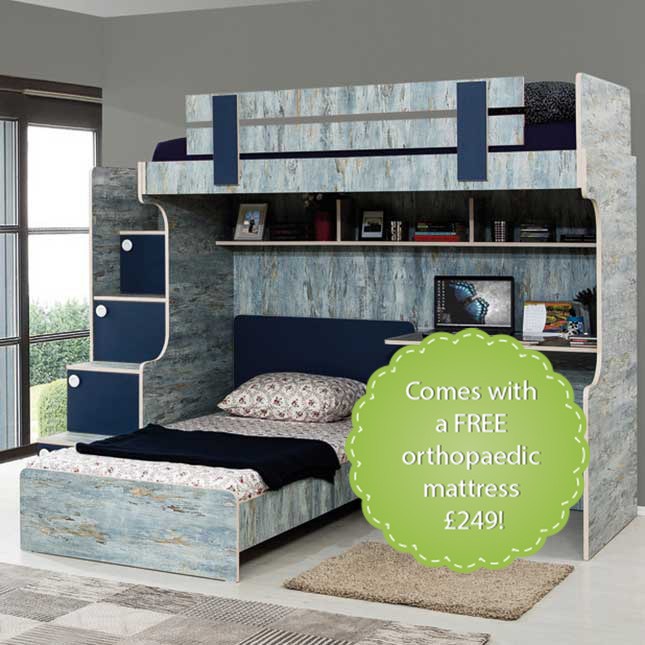 Blueish Modern Bunk Bed: Stairs with chest of drawers, children's bed and a study desk