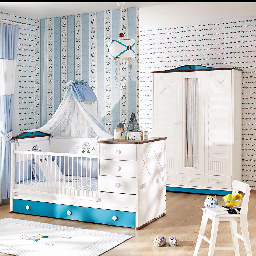 Sailing Baby Contemporary 3 Door Wardrobe With drawers