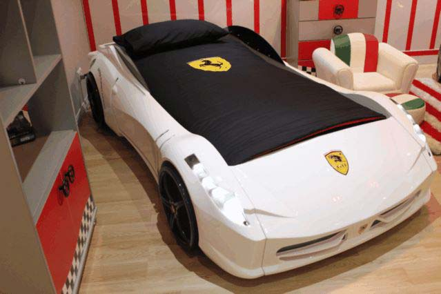 Ferrari White Car Bed