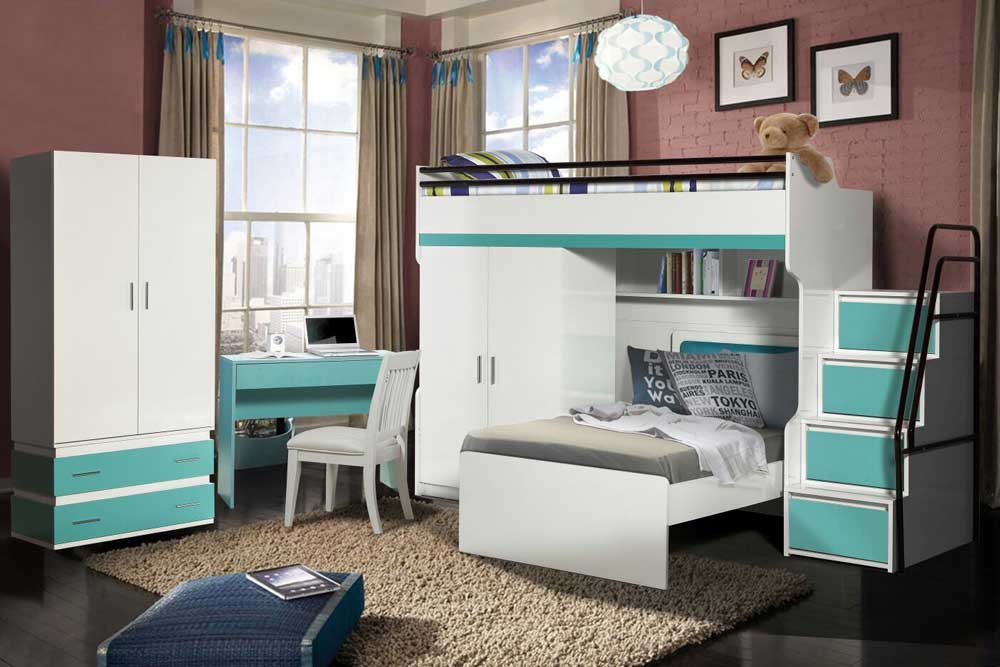 Bueno Turquoise: Bunk Bed, 2 door under wardrobe, 2 door Wardrobe, Children's Bed and a Study Desk