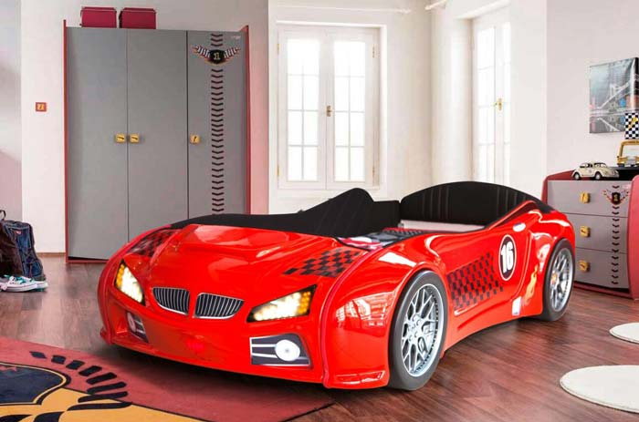 BMW M3 RED KIDS CAR BED with FULL LEATHER SEATS